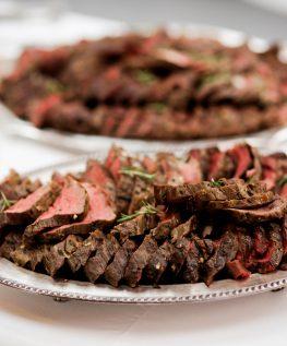 BUFFET meat on silver platter